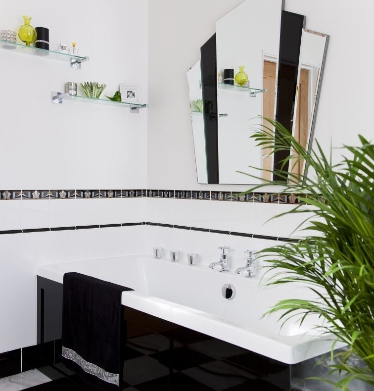 Spare Bedroom Transformed Into Glamorous Art Deco Bathroom
