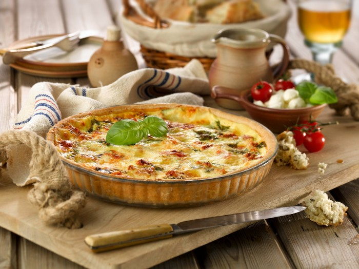Tomato Mozzarella And Basil Quiche