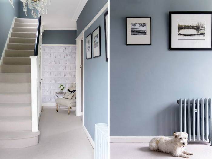 Glamorous blue hallway Hallway colour scheme ideas