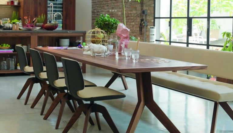 dining table bench with backrest. yps dining table, from £2,250; chair with swivel base, £1,649; bench backrest £3,670; all wharfside table