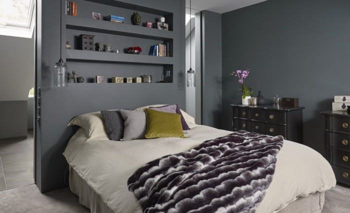 This luxurious grey bedroom opens into a stunning ensuite - How to convert a loft into a bedroom ...