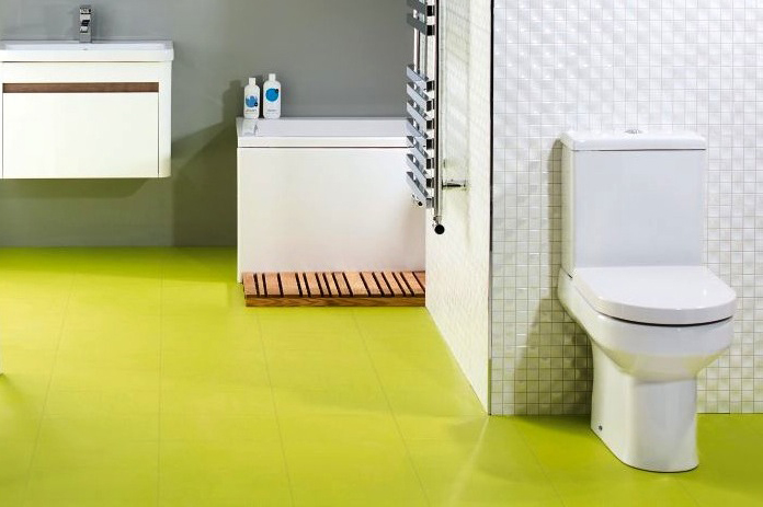 Rubber floor tiles for bathrooms