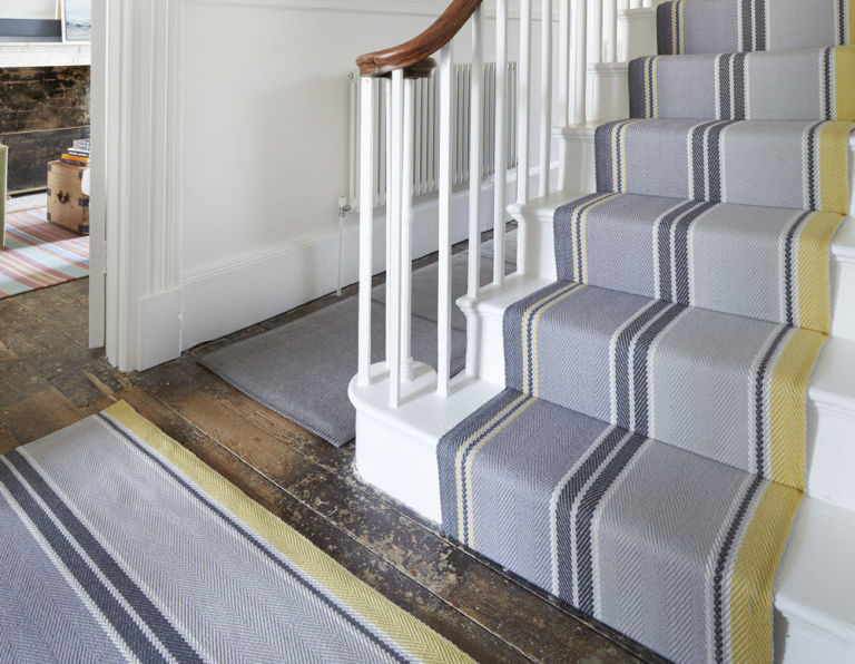 Stripe Carpet Hallway And Stairs