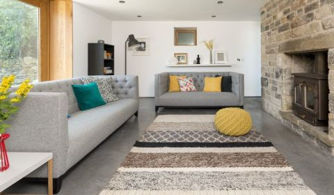 Gray Blue amp Yellow Living Room Furniture amp Decorating Ideas