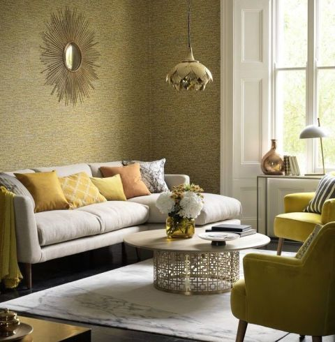 30 inspirational living room ideas living room design for Brown wallpaper ideas for living room