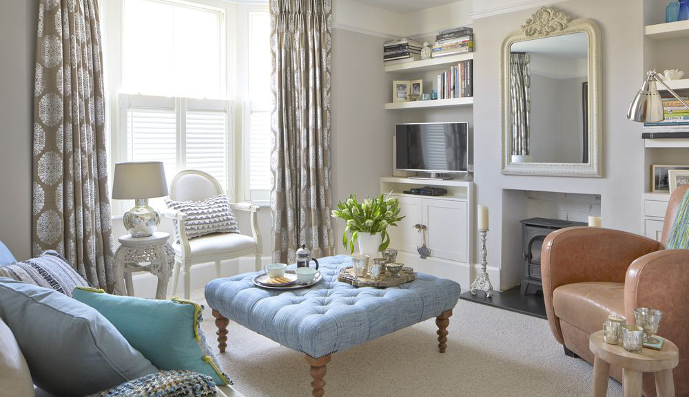 A Stunning Artwork Inspired This Neutral And Blue Living Room