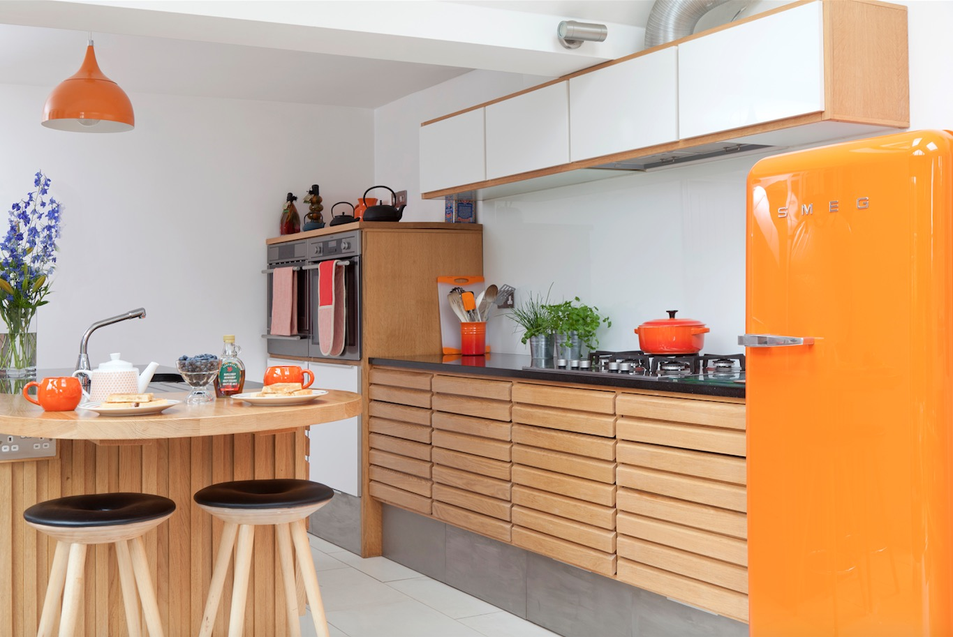 Kitchen Renovation In Waddingham Using Retro Danish Styling And An Orange  Smeg Fridge