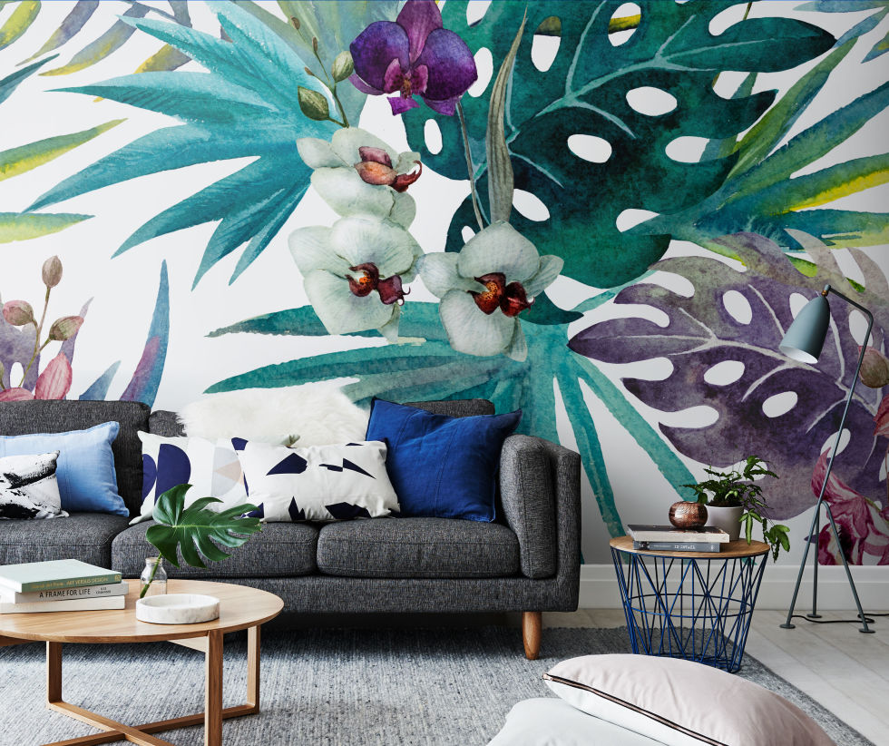 Botanical wall mural from Pixers