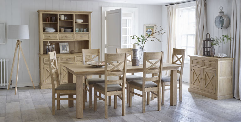 Superior Oak Furniture Land Coastal French Washed Solid Oak 5ft X 3ft Extending  Dining Table +