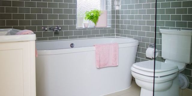 Bathroom Makeover Grey Brick Tiles And Pink Accessories Makes This A Relaxing Haven