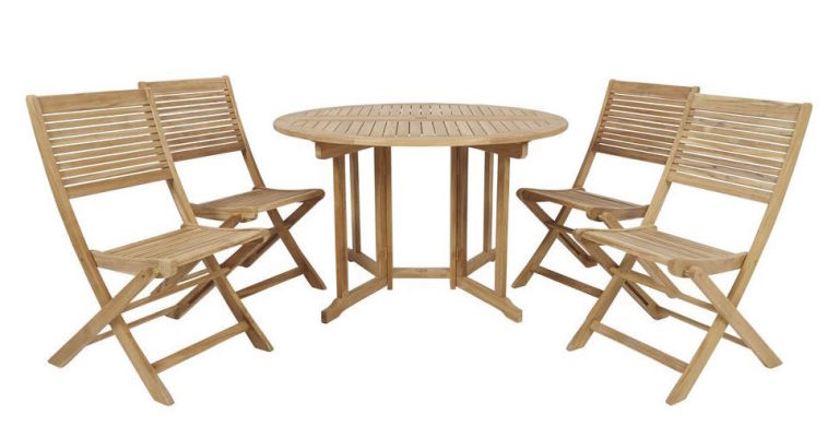 B Q Teak four seater dining set. Outdoor living  Ultimate guide to garden furniture
