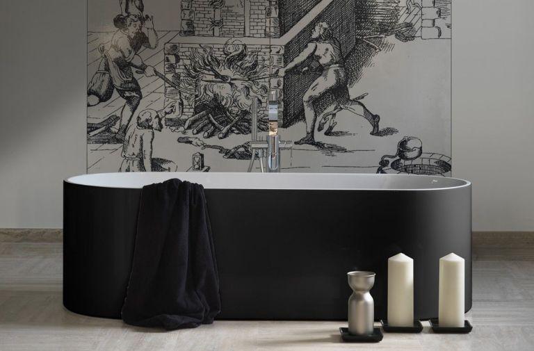 Black Bathtub In A Designer Bathroom