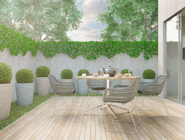 modern minimalistic style backyard garden on a sunny day - Garden Design Low Maintenance
