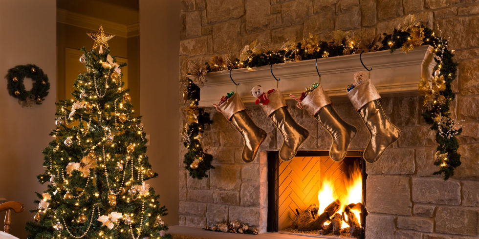 A Beautiful Contemporary Gold Themed Christmas Eve Fireplace, Tree,  Stockings, And Living Part 70