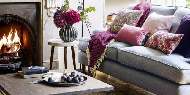 cosy living room with plum raspberry rose blush and grey scheme - Cosy Living Room Designs