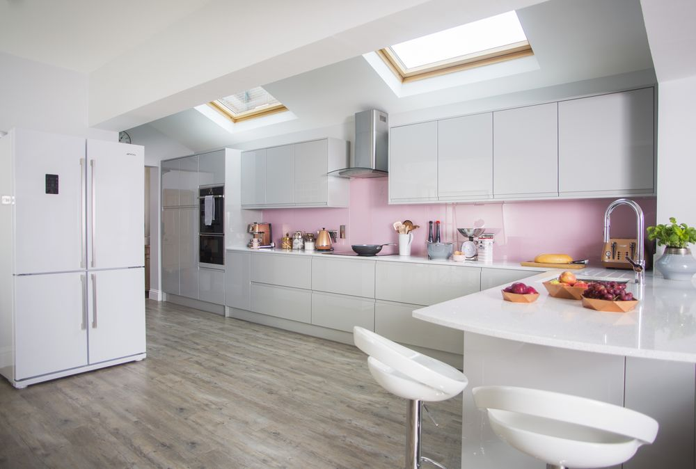 Pink Grey And Copper Colours Gives This Kitchen Makeover