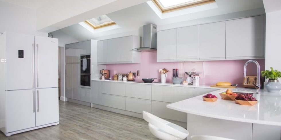 Pink Kitchen Walls pink, grey and copper colours gives this kitchen makeover an