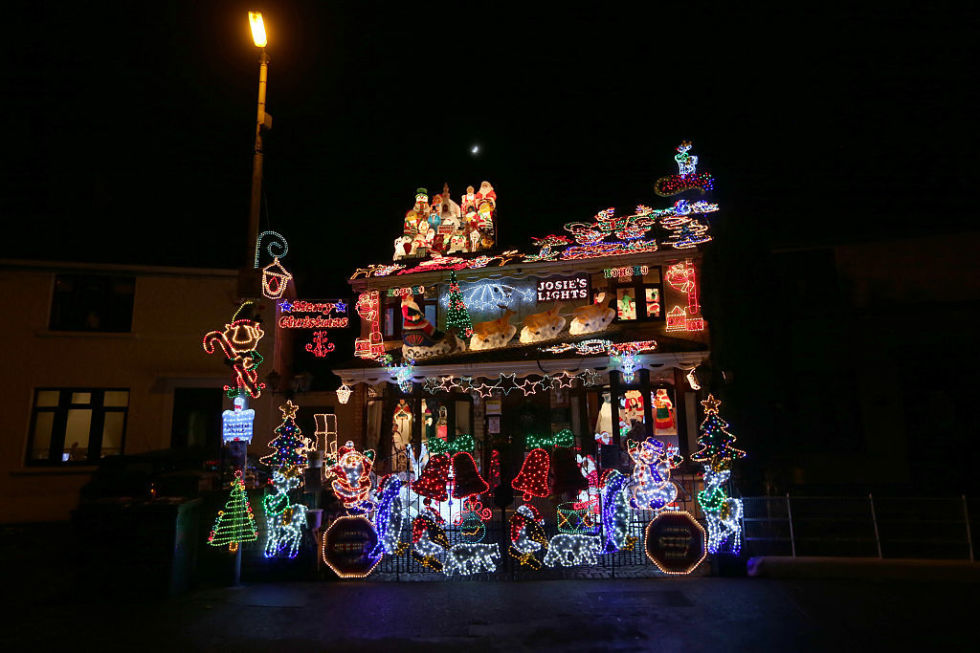 A House Decorated With Lights For Christmas In The Crumlin