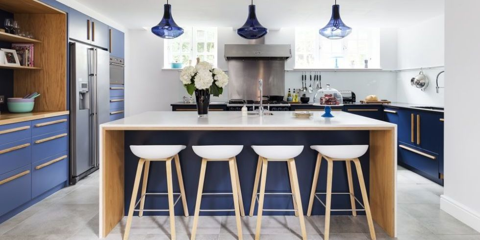 Kitchen With Modern Design In Blue And White Colours Part 79