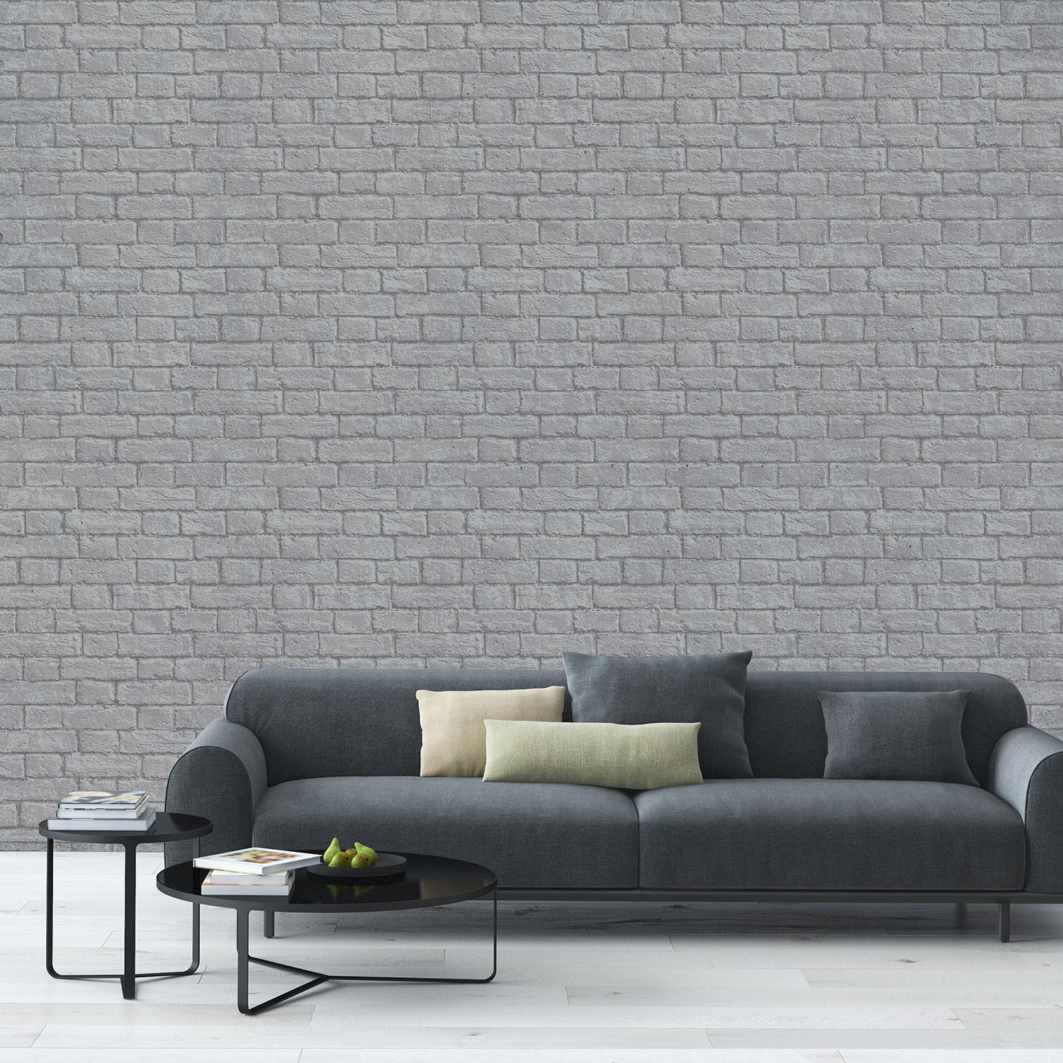 Stylish brick effect wallpaper designs brick wallpaper ideas Grey wallpaper living room
