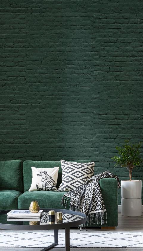 Green Brick Wallpaper By Murals Wallpaper Part 57