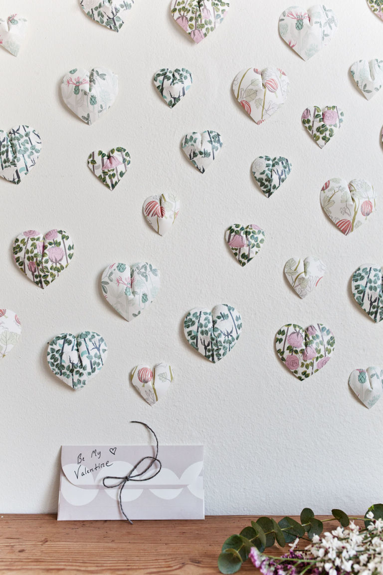 Create this pretty 3d paper heart wall hanging in 6 easy steps valentines day 3d heart wall hanging wallpaper from swedish designer plingsulli amipublicfo Gallery