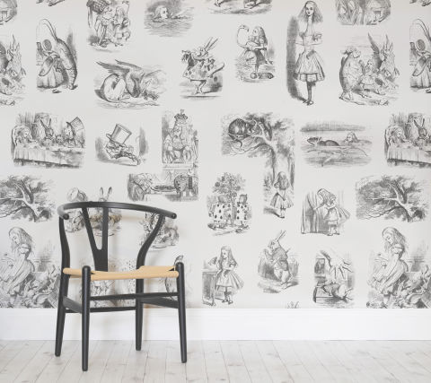 Book lover these enchanting classic literature wallpaper for Alice in wonderland wallpaper mural