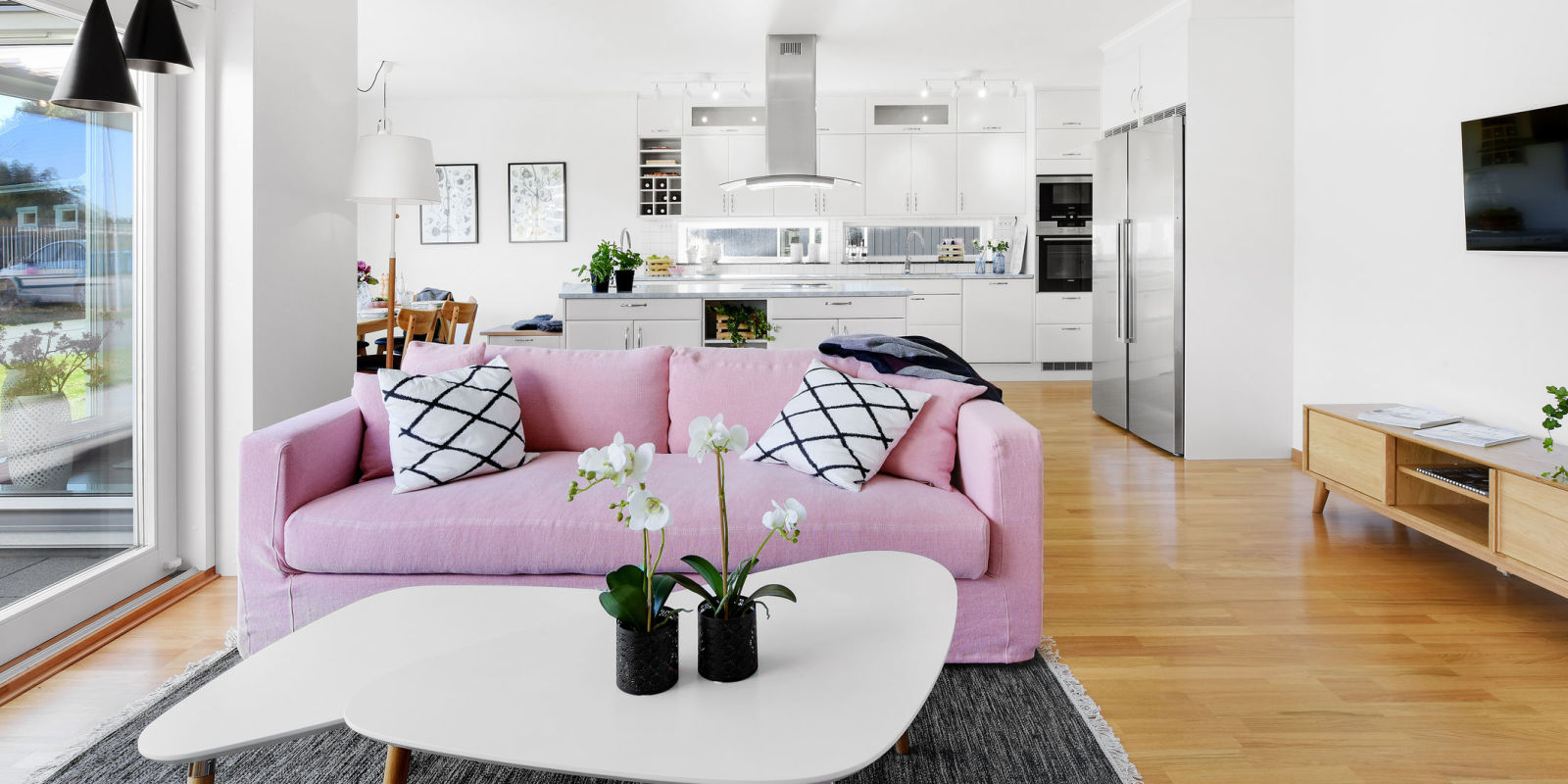 Interior Of Modern Living Room With Pink Sofa