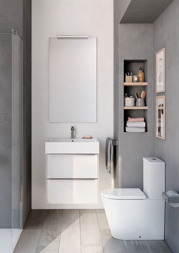 inspira wall hung white gloss base unit inspira square wall hung basin - Ideas For A Small Bathroom
