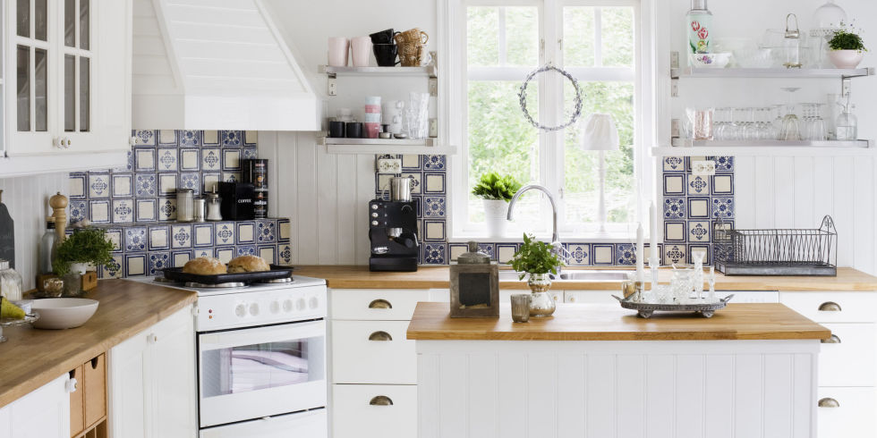 Sweden, Contemporary kitchen with white furniture