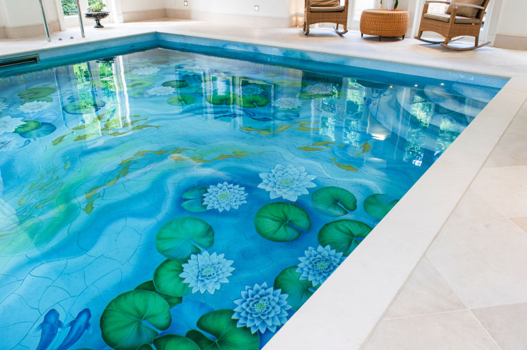 Indoor Swimming Pool With Beautiful Water Lily Ceramic Tile Mural ...