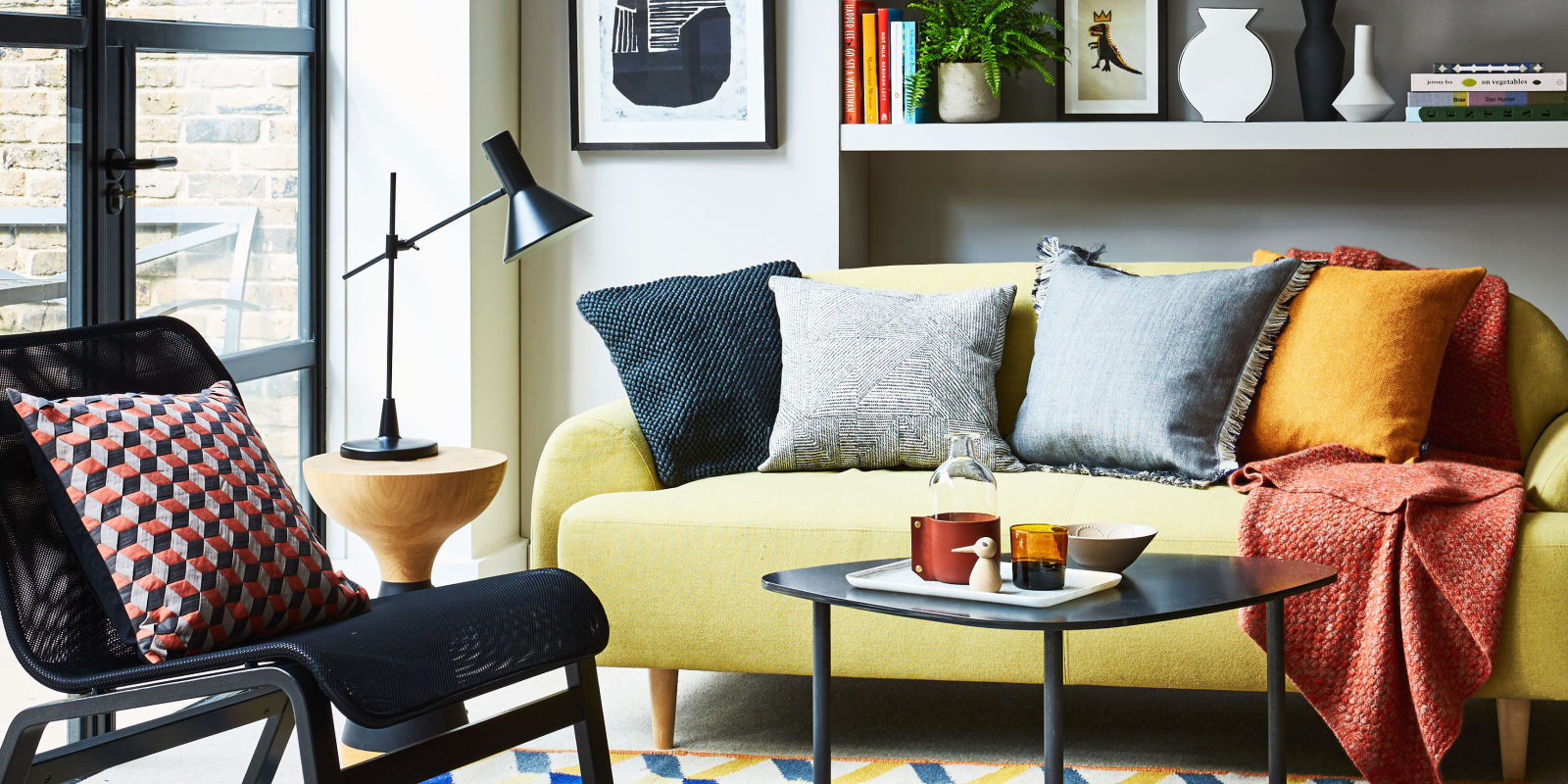 yellow and grey colour scheme living room styling by kiera buckley jones photography - Ideas For Living Room Design