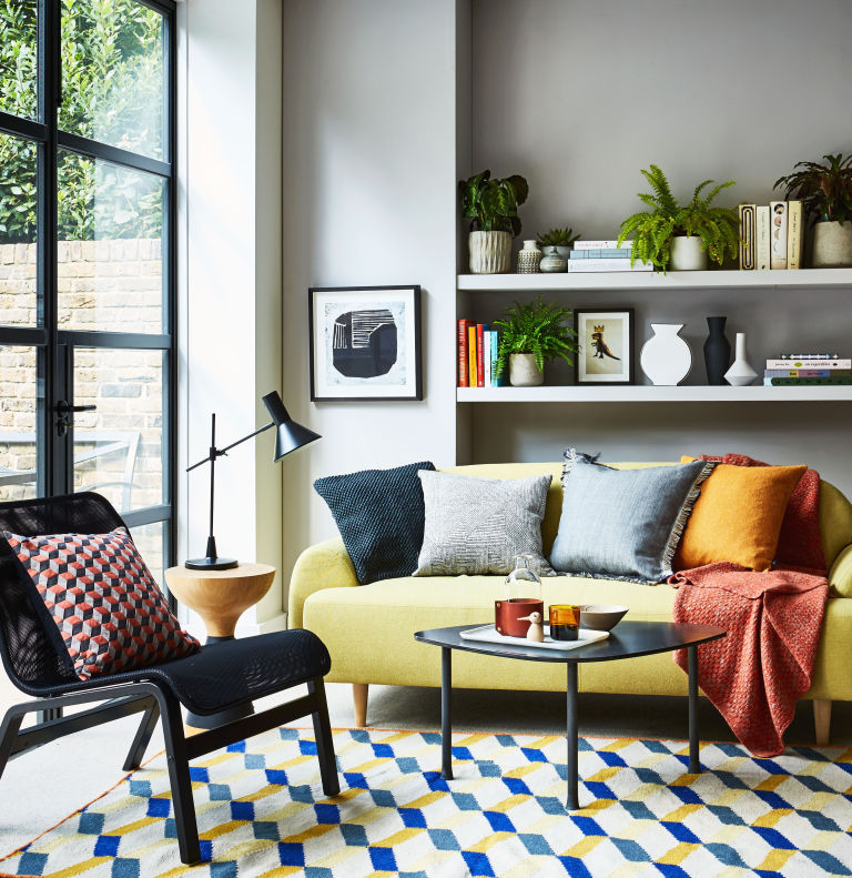 Yellow and grey colour scheme living room - styling by Kiera Buckley-Jones, photography by Rachel Whiting