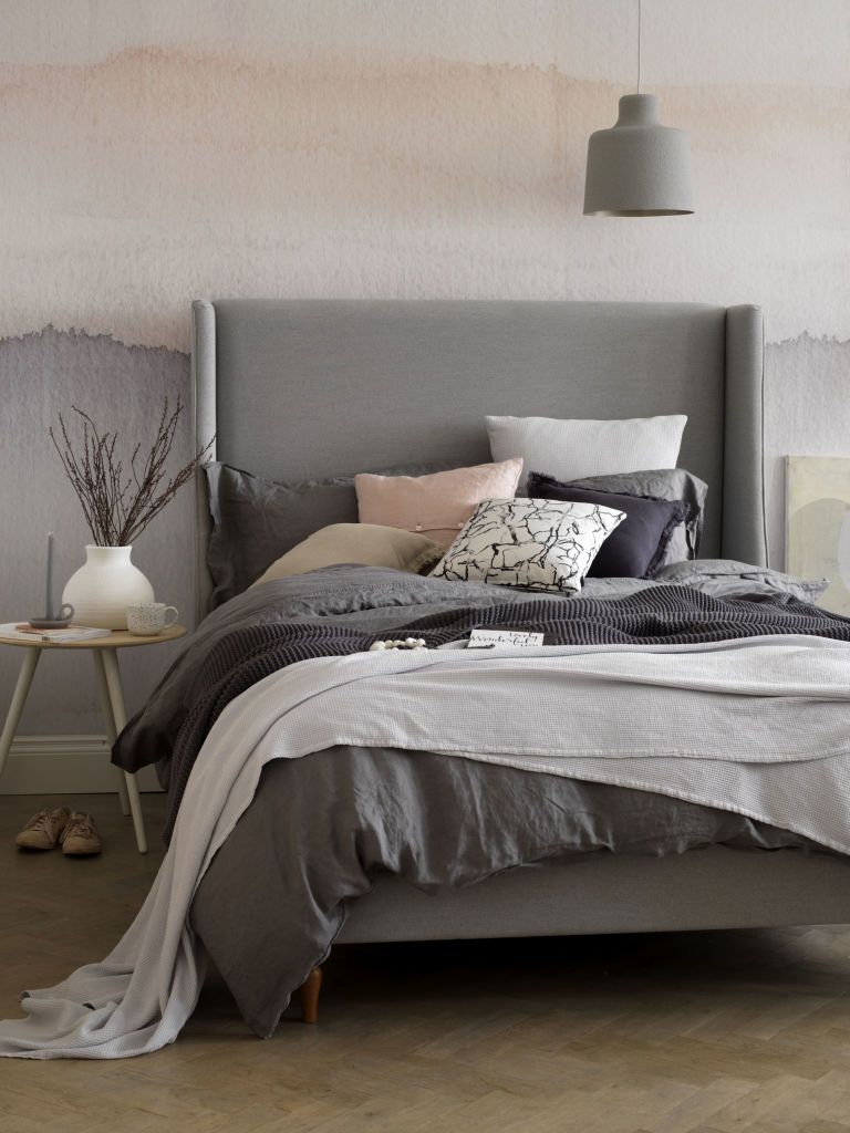 Holly double bed frame in pumice soft textured weave, £975, Button & Sprung