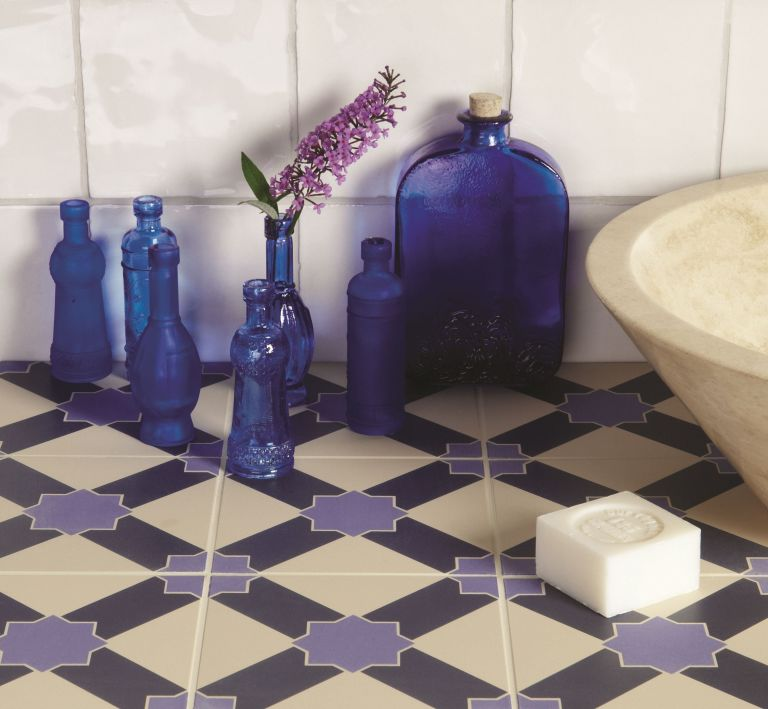 Original Style - Odyssey Collection - tiles - Alhambra - Indigo and dark Blue on Dover White