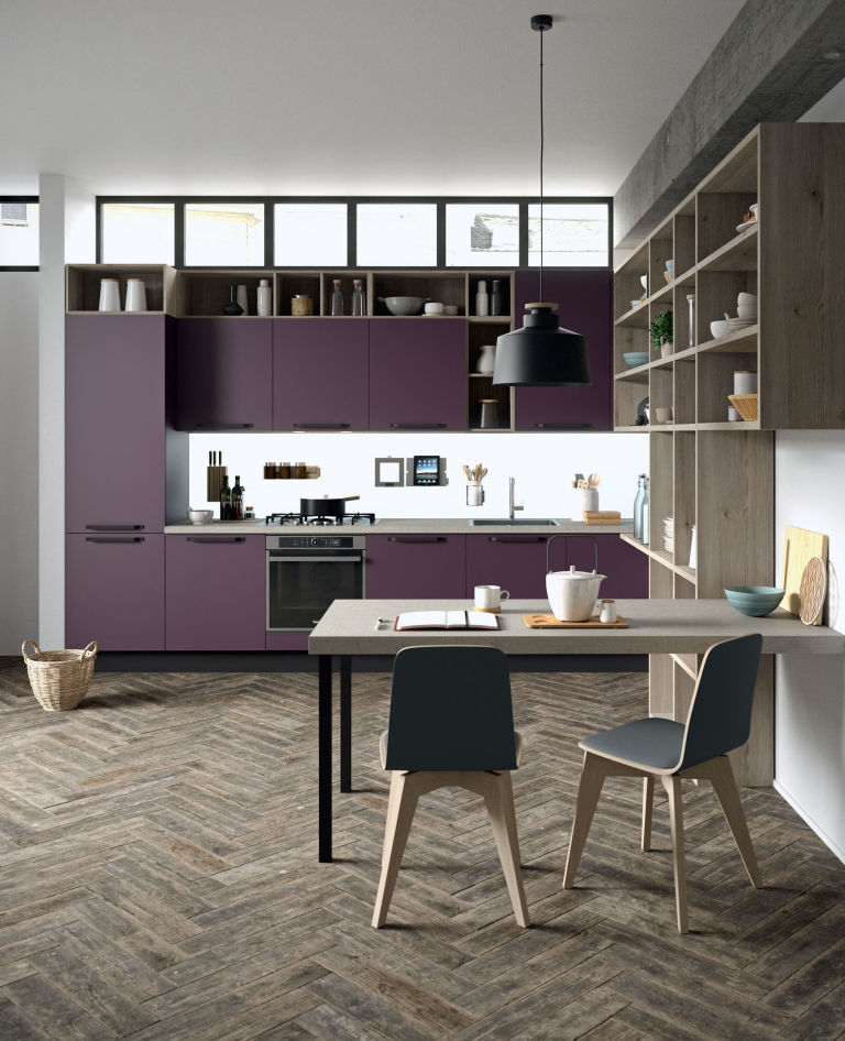 FARO kitchen in matt aubergine finish by ARAN Cucine